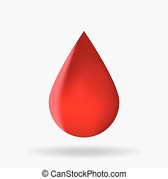 Drop of blood with a shadow on a white background