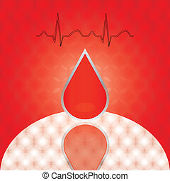 Drop of blood with ekg