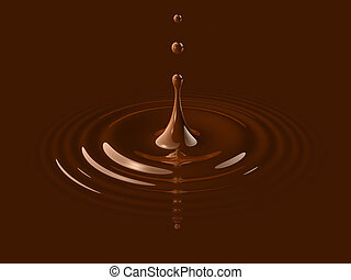 drop of liquid chocolate splashing and making ripple. 3D illustration