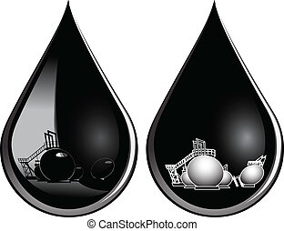 At the drop of oil affects the oil storage. Vector illustration.