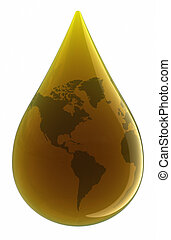Drop of Oil. Clipping path included