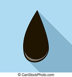 Drop of oil icon, flat style