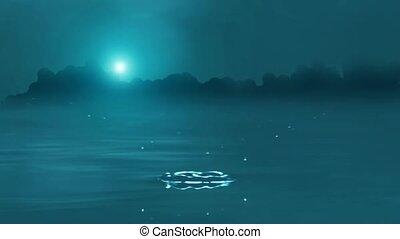 Drop of water falling in to lake
