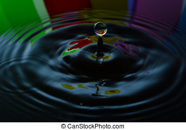 Drop of water falling into blue abstract black background
