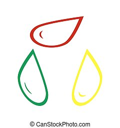 Drop of water sign. Isometric style of red, green and yellow icon.