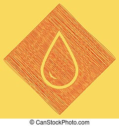 Drop of water sign. Vector. Red scribble icon obtained as a result of subtraction rhomb and path. Royal yellow background.