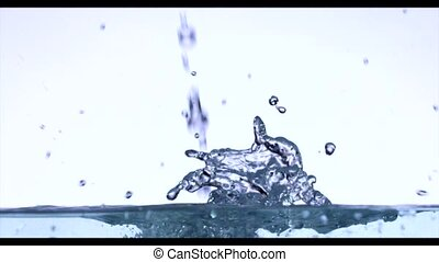 Drop of Water - Slow Motion - Drop of Water on white...