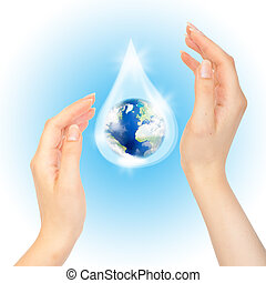 Drop of water with Earth.