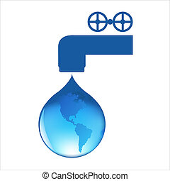 Drop Of Water With Globe