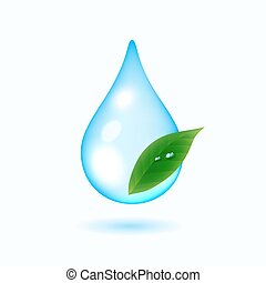 Drop of water with green leaf