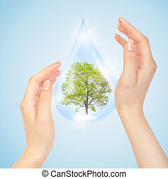 Drop of water with Tree inside and hands