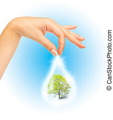 Drop of water with Tree inside and human hand