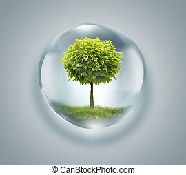 drop of water with tree inside