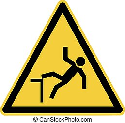 drop or fall hazard warning sign - watch your step symbol