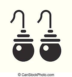 drop pearl earring, jewelry icon, glyph style