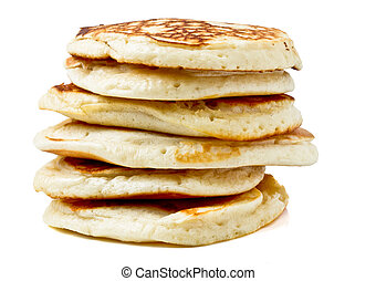 Homemade sweet pancakes called drop scones isolated on white.