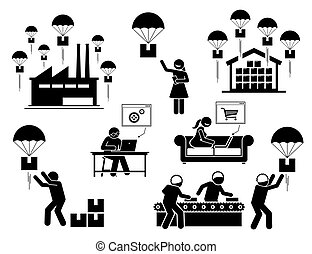 Drop shipping business model icon set.