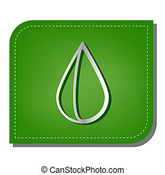 Drop sign. Silver gradient line icon with dark green shadow at ecological patched green leaf. Illustration.
