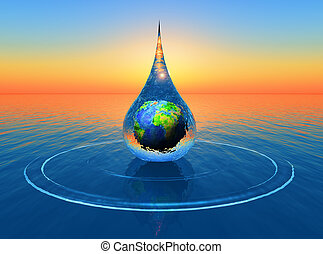 drop - a drop of water with the planet earth inside