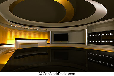 drop., tv, dos, jaune, rendre, 3d, studio.