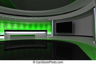 drop., tv, dos, rendre, vert, 3d, studio.