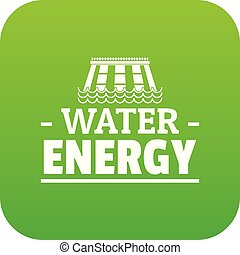 Drop water energy icon green vector