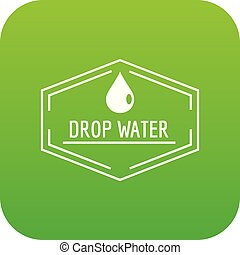 Drop water icon green vector