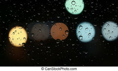drop water on window with light circle