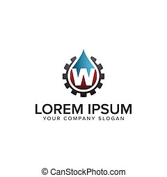 drop water with gear Logo. oil gas logo with letter W design concept template