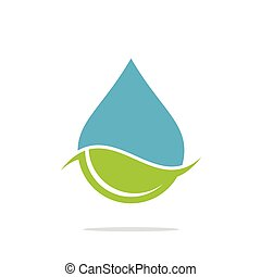 Drop Water with Green Leaf Logo Template Illustration Design. Vector EPS 10.