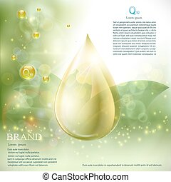 Drop with coenzyme Q10 serum essence. Anti aging skin care colla