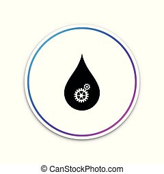 Drop with gears icon isolated on white background. Abstract concept for ecology theme, green eco energy, technology and industry. Circle white button. Vector Illustration