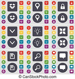 Dropbox, Checkpoint, Lock, Arrow down, Light bulb, Deploying screen, File, Magnifying glass, Chat bubble icon symbol. A large set of flat, colored buttons for your design. Vector