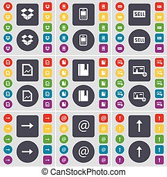 Dropbox, Mobile phone, Sell, Graph file, Dictionary, Picture, Arrow right, Mail, Arrow up icon symbol. A large set of flat, colored buttons for your design. Vector