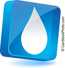 Droplet Icon. - Droplet 3d icon. Vector illustration.