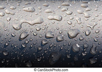 Droplets - Macro of droplets on metal