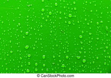 Droplets - Many water droplets on green surface