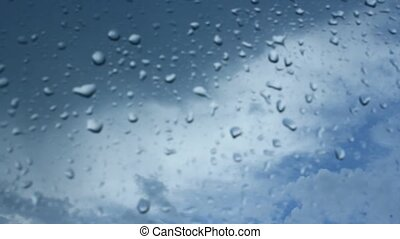 droplets of water on the glass