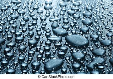 Droplets on a metallic blue car
