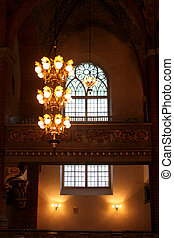 droplight and window in a church