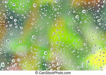 droppar, av, regna, på, den, glas