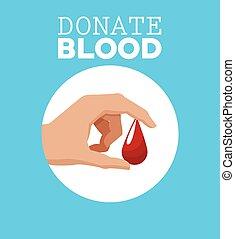 droppe, donera, hand, blod