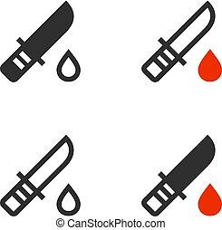 droppe, droppande, kniv, blod