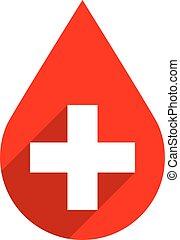 droppe, första, underteckna, blod, bistånd, donera, röd, ikon