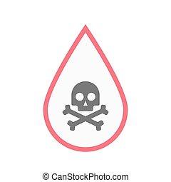 droppe, isolerat, kranium, blod