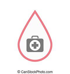 droppe, isolerat, utrustning, blod, bistånd, första, ikon