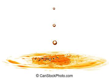 droppe, isolerat, vatten, plaska, apelsin, stjärnfall, vit