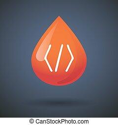 droppe, kodex, blod, ikon, underteckna