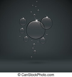 droppe, mörk, svart fond, bubbla, transparent