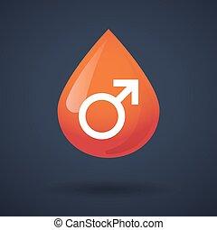 droppe, manlig, blod, ikon, underteckna